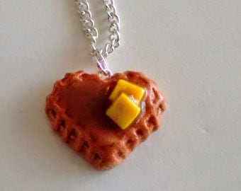 Heart Waffle Necklace - Miniature Food Jewelry - Inedible Jewelry - Waffle Jewelry - Kid's Jewelry - Breakfast Jewelry - Junk Food Necklace