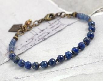Lapis bracelet Gemstone bracelet with clasp Lapis lazuli jewelry Blue jade bracelet with knots Blue bracelet Indigo jewelry Cowgirl jewelry