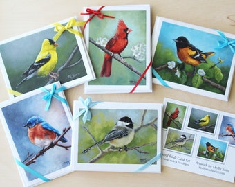 Bird notecards - five card set - bird cards - bird stationary - songbirds - notecard set - paper goods - thank you notes