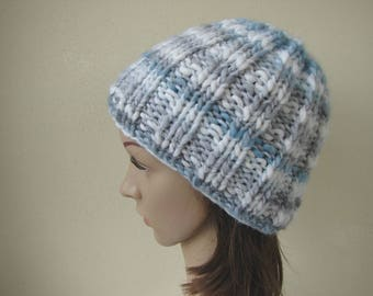 Hand knit hat soft gray blue white woman adult small warm winter hat knit in round thick and thin woolen acrylic effect yarn men chunky hat