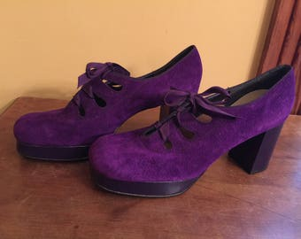 Fanfares Vintage Purple Suede Platform Shoes/Vintage Platform Shoes/Vintage Disco Shoes