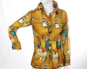 FREE US SHIPPING Jean Miro Inspired Modernist Art Blouse