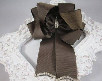 "NEW chocolate brown OTT 5"" bling bow with tails"