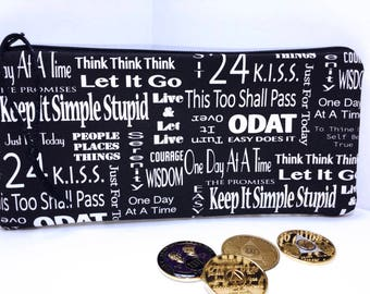 Easy Does It Zipper Pouch, ODAT, One Day at a Time, Long Zipper Pouch, Just for Today, Change Purse,KISS, aa, na, aa meetings, sponsors