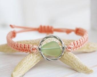 Surf bracelet / beach glass bracelet / adjustable bracelet / sea turtle jewelry / sea turtle bracelet / Save the sea turtles bracelet