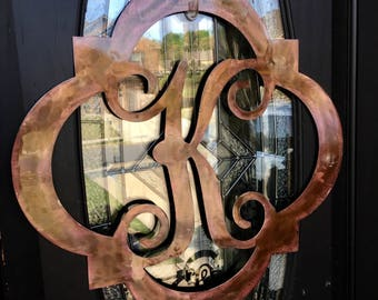 Custom Metal Monogram Initial Front Door Hanger- Wall Art