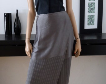 Jupe portefeuille longue MARC CAIN grise en soie taille 36 - uk 8 - us 4