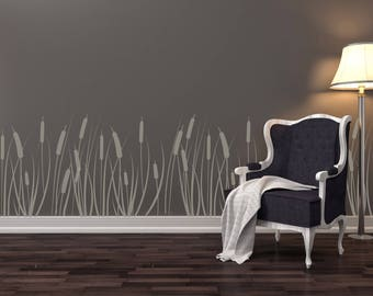 BULRUSH CATTAIL Allover Wallpaper Stencil / Reusable / DIY / Home Decor / Interiors / Feature Wall / Wallpaper alternative