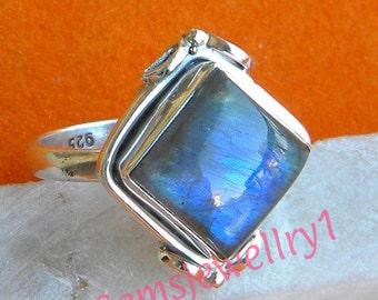 Labradorite ring, Labradorite Stone Ring,Sterling Silver Ring, Silver Ring,Blue light Ring,Size 5 6 7 8 9 10 11 12 13 14, RSILVER-0407150049