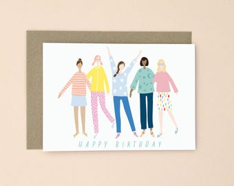 Happy Birthday Illustrated Greetings Card A6