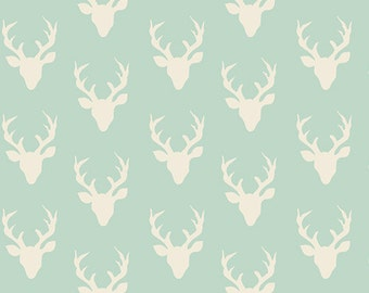 SALE!! 1 Yard- Hello, Bear by Bonnie Christine for Art Gallery Fabrics- Tiny Buck Forest Mist 4440