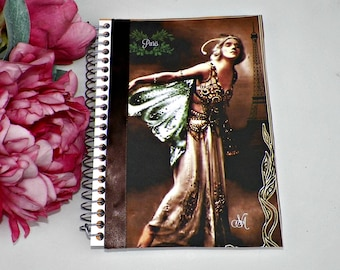 Blank Notebook Journal Altered Fairy Art Book  Original Art Cover Diary Vintage Style Notepad Artwork