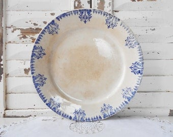 Ironstone Cake Stand Antique French White and Blue Serving Plate