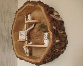 Wall shelf wooden shelf from a slice of tree