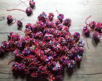 50 yarn pom pom, pompom  mixed colors, pompom handmade cotton, Beautiful Mixed Colours