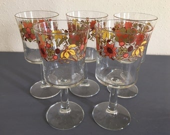 Vintage set of 5 Midcentury Modern stemmed wine glasses happy hand-painted pink orange & yellow sunflowers for tropical or autumn table!