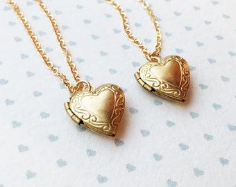 Heart Locket Necklace / Little Heart Locket necklace / Gold Childrens Locket Necklace / Lockets for Girls / Tiny Gold Locket