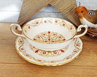 Tuscan Richelieu Cream Soup Bowl & Saucer F159 Fine Bone China Double Handled Made in England ca. 1950s (3) Avail. Compare at 68.00 USD
