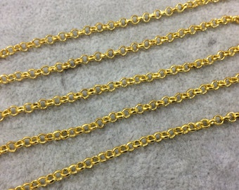 5' Section of 3mm Bright Gold Plated Copper Round Link Rolo Style Chain - Available in Four Different Finishes, Check Related Links!