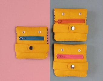 Hug Monster Wallet Coin purse Yellow Handmade silkscreen print