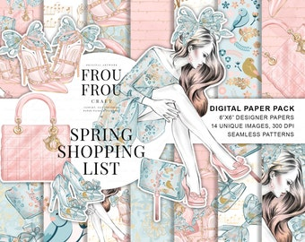 Spring Paper Pack Planner Girl Digital Backgrounds Fashion Blogger Patterns Peach and Mint Fabric Shopping Stickers Romantic Girly Pastel