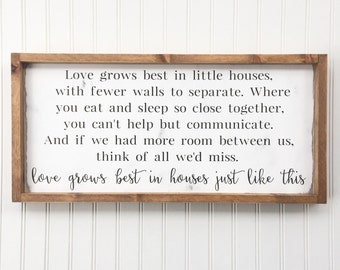 Love Grows Best in Little Houses Framed Wood Sign, Houses Just Like This Home Decor, Housewarming Gift, Custom Wall Art