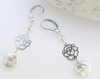 White freshwater coin Pearls ,Sterling Silver Roses-,small white Freshwater pearls , Sterling silver ear hooks