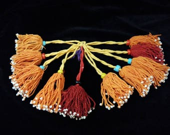 Set Of 10 Golden Orange And Red Turkmen Small Tassels Tribal Fusion Ats Belly Dance Belts Bags Doorway Diy Fringe