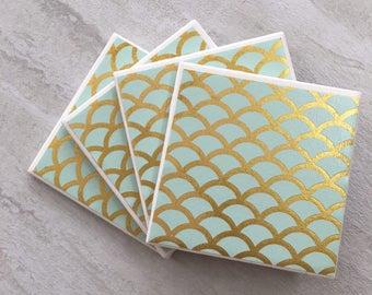 Aqua Foil Shell Pattern Coasters, Tile Coasters, Aqua