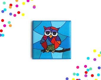 Owl magnet, fridge magnet, magnet, refrigerator magnet, magnets, owl lover, button magnet, one of a kind, kitchen decor, kitchen decoration