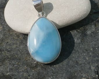 Gorgeous Larimar Stone Pendant Handmade In Sterling Silver 925