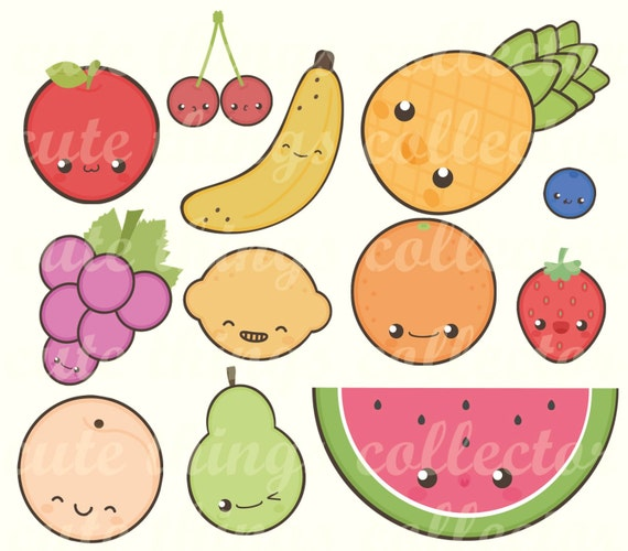 Super SALE 12 Digital Fruits Clipart Cute Kawaii Stickers Printable NG33
