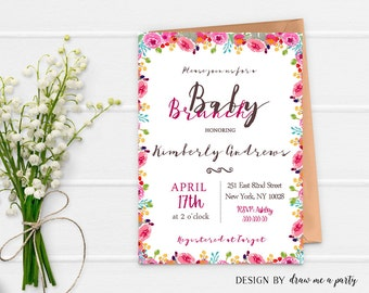 Baby Brunch , Baby Brunch Invitation , Floral Baby Shower , Flower  Invitation , Floral Baby