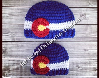 Colorado Flag Beanie - Hat CO Newborn ~ Baby ~ Child ~ Teen ~ Adult ~ Winter Crochet Cap