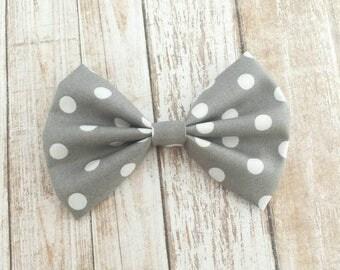 Gray & White Polka Dot Fabric Bow Clip or Headband / Polka Dot Hair Bow / Gray Polka Dot Bow / Polka Dot Bow Headband / Gray Fabric Bow Clip