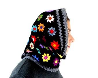Snood hood crochet wool black multicolor flowers