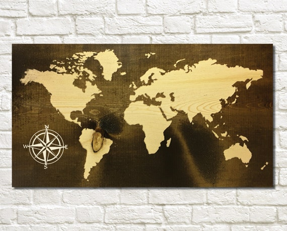 Rustic world map carved wood sign wall decor custom