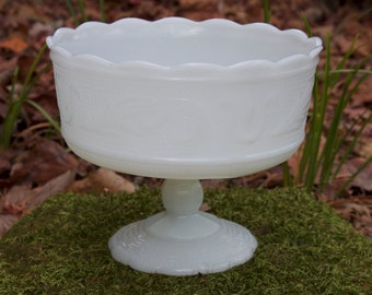 Vintage Milk Glass Planter by E O Brody Co. M6000 - Shabby Chic Wedding Decor - Cottage Chic Footed Candy Dish -Milk Glass Fruit Bow