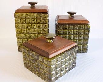 Vintage Kitchen Canister Set  - 1970s Olive Green Large Ceramic Kitchen Canister with wooden Lid