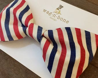 Canine bow tie, doggie bow tie, 4th of July, patriotic, red, white, blue, vintage-look, dog bow tie