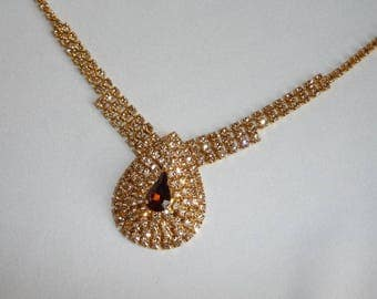Beautiful Vintage 1950's Rhinestone Necklace with Champagne  & Citrine Coloured Crystals - Bridal Accessory