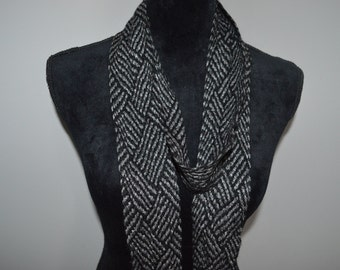Skinny scarf / scarf / skinny scarves / grey / black / 72 inches / wraps around / woven scarf / wrap around / vintage scarf / vintage