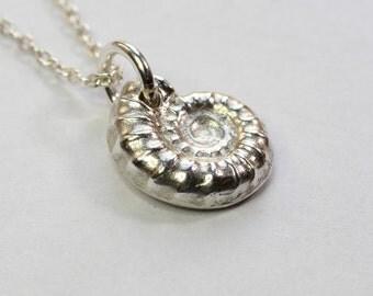 Silver ammonite;Silver necklace,Silver pendant;Pure silver;Fine silver;999 silver;Silver Art Clay,Ammonite, Ammonite Fossil,Charm necklace