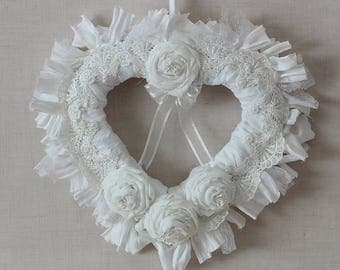 Shabby Chic Wedding Wreath , Shabby Chic Wreath , Boho Wedding Decor , Wedding Aisle Decoration , White Wreath , Heart Wreath , Rag Wreath