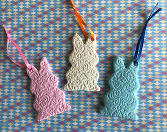Set of 3 Bunny Easter ornaments or 3 embossed egg shapes.