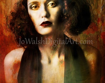 Fine Art Print of 'Lipstick'. Beautiful woman portrait. Giclee print on Museum Quality Paper. Jo Walsh Digital Art