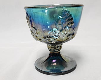 Vintage Iridescent Blue Carnival Glass Grape Jelly Compote