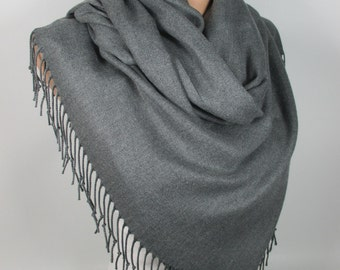 Gray Pashmina Scarf Large Scarf Oversize Scarf Winter Spring Scarf Fashion Accessories Gift Ideas For Her For Him MELSCARF