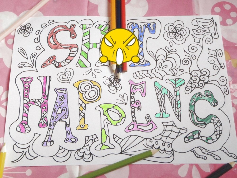 Sweary Word Adult Coloring Book Swear Mature Content Download