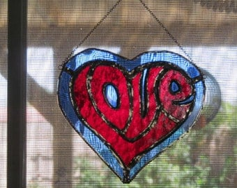 Love in a Heart Stained Glass Suncatcher